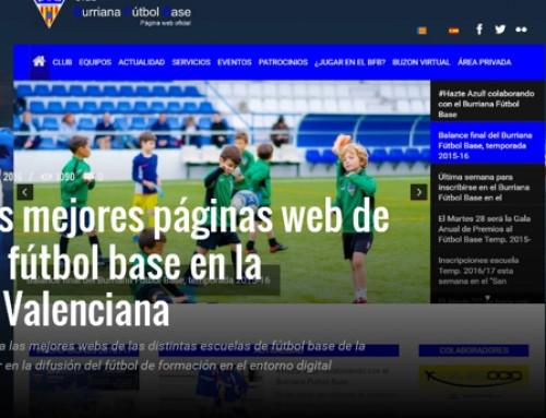 La web del Burriana Fútbol Base en el TOP 10 de la Comunidad Valenciana